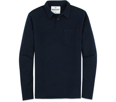 Supima Long Sleeve Pocket Polo - Navy Blue Tops BOULDIN Navy Blue S
