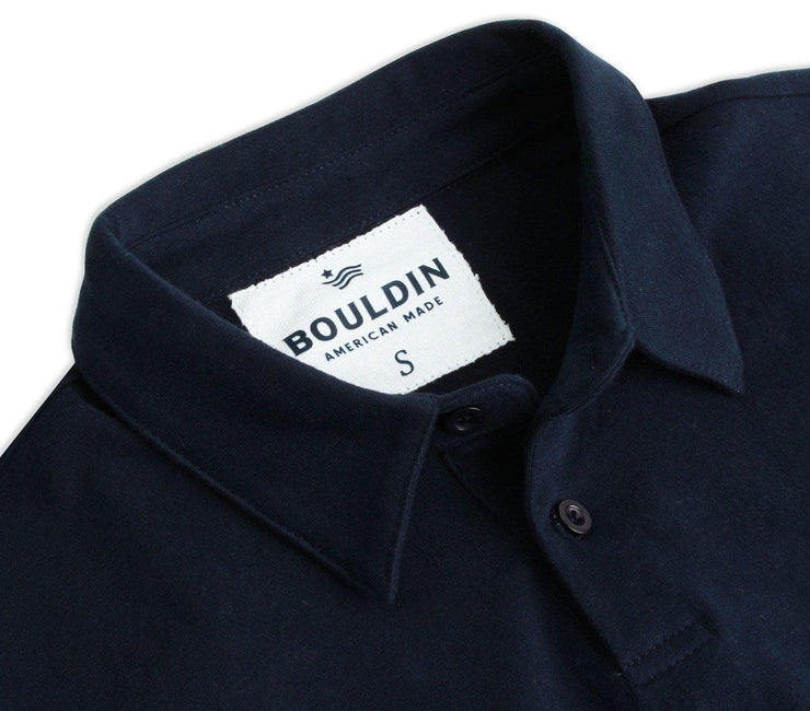 Supima Long Sleeve Pocket Polo - Navy Blue Tops BOULDIN