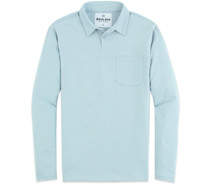 Supima Long Sleeve Pocket Polo - Polar Blue Tops BOULDIN Polar Blue S