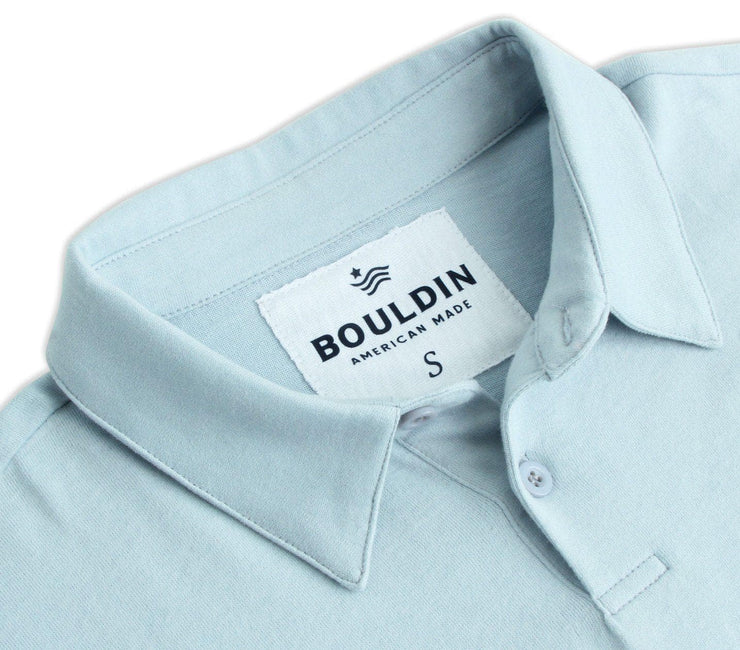 Supima Long Sleeve Pocket Polo - Polar Blue Tops BOULDIN