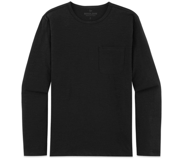 Long Sleeve Pocket Tee - Black Nova Tops Bouldin Black Nova S