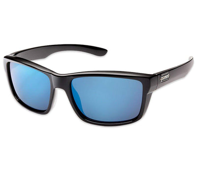 Mayor Sunglasses - Black, Polarized Headwear Suncloud Black/Polar Blue Mirror - Medium Fit