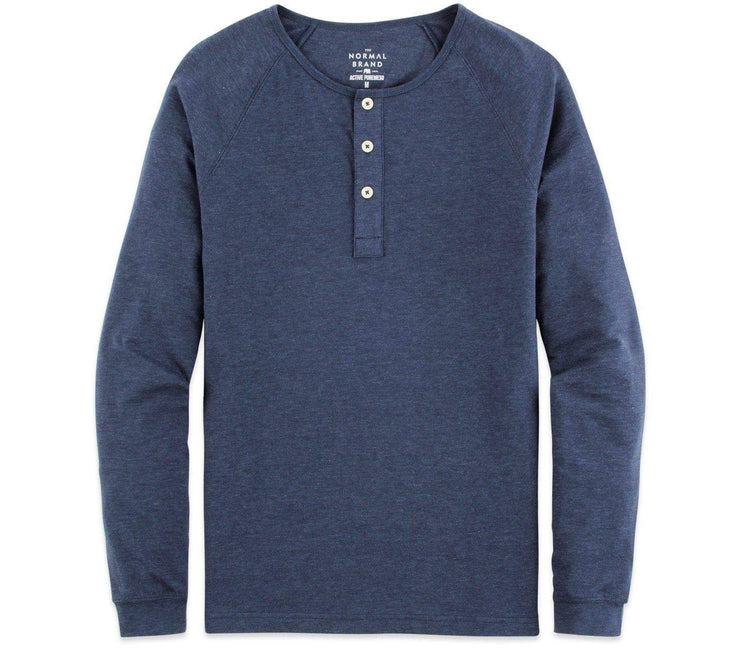Active Puremeso Long Sleeve Henley - Navy Tops The Normal Brand Navy S