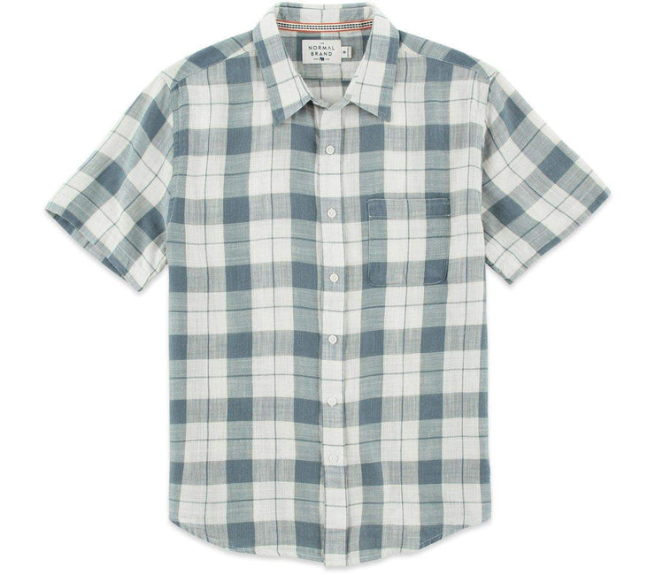 Skipper Short Sleeve Button Down - Mineral Blue Tops The Normal Brand Mineral Blue S