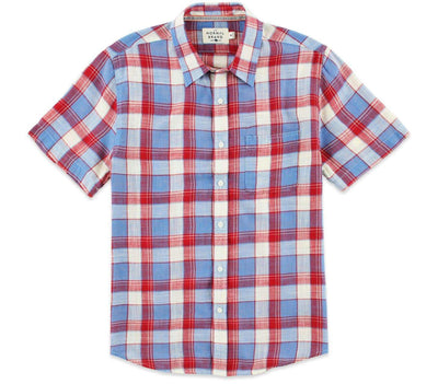 Skipper Short Sleeve Button Down - Red Tops The Normal Brand Red S