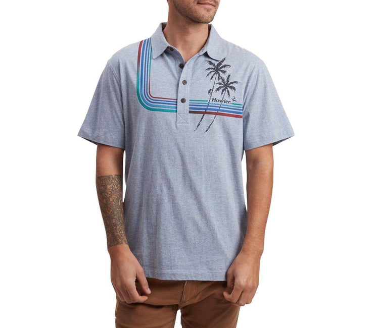 Palm Climber Rookery Polo - Blue Heather Tops Howler Bros