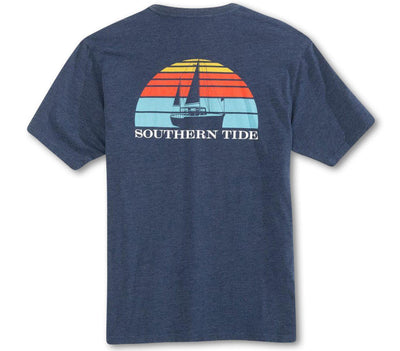 Sunset Sailing Tee - Heather Navy Tops Southern Tide Heather Navy S