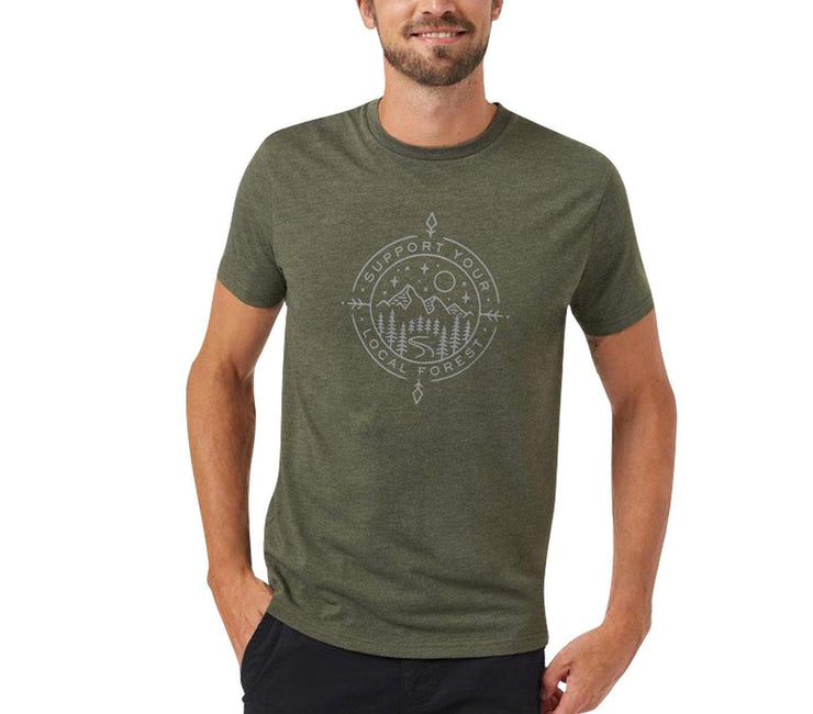 Support Short Sleeve T-Shirt - Olive Night Green Heather Tops Ten Tree