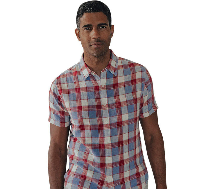 Skipper Short Sleeve Button Down - Red Tops The Normal Brand