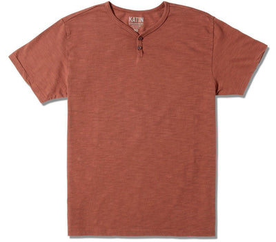 Folk Henley - Dark Clay Tops Katin Dark Clay S