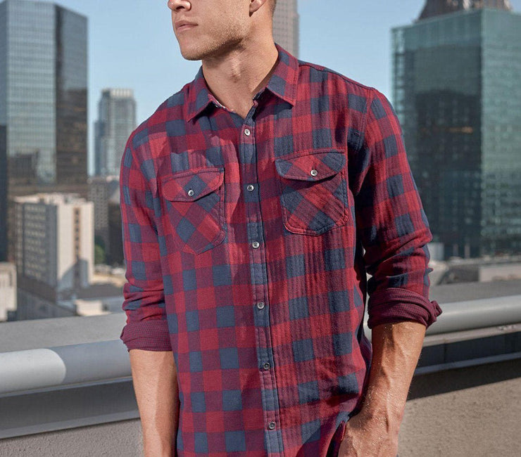 Belhaven Double Layer Flannel - Maroon Navy Plaid Tops Flag & Anthem