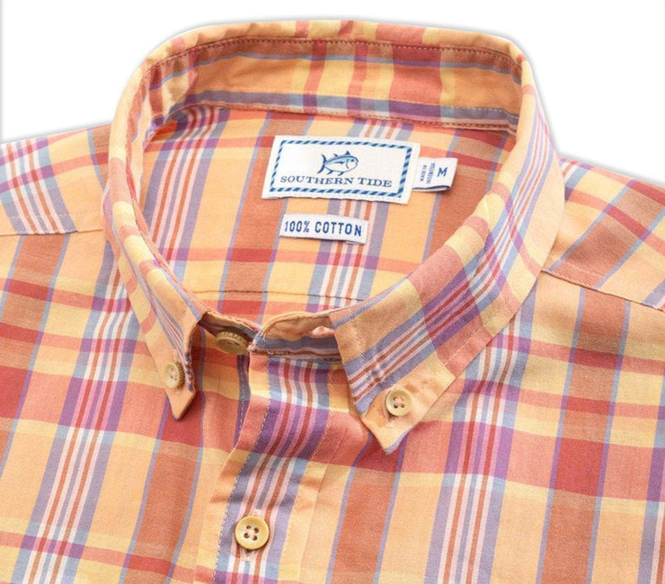 Leeward Madras Short Sleeve Button Down Shirt - Papaya Punch Tops Southern Tide