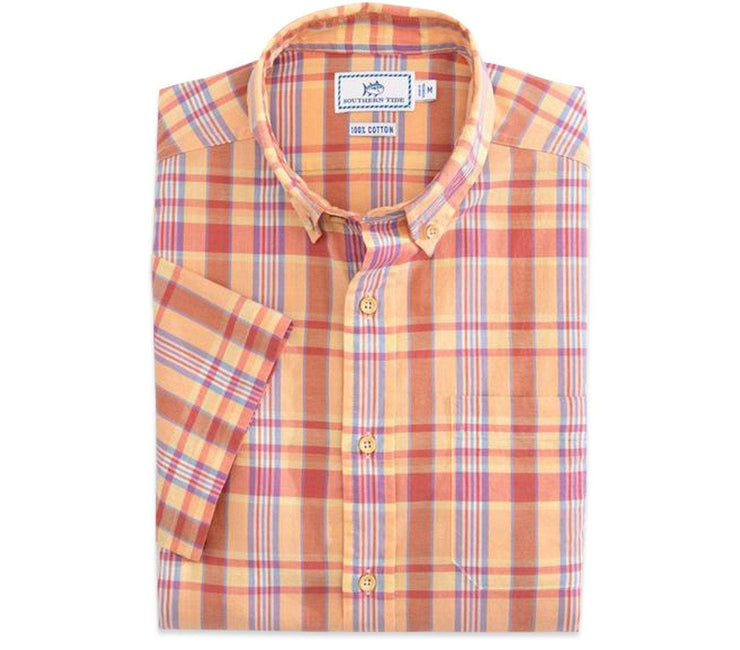 Leeward Madras Short Sleeve Button Down Shirt - Papaya Punch Tops Southern Tide Papaya Punch M
