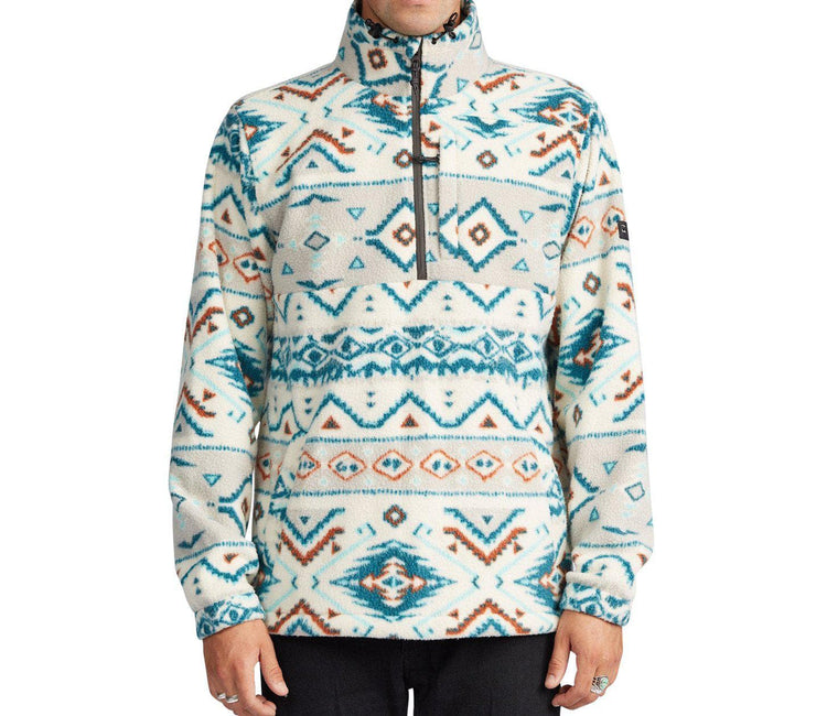 Boundary Mock Neck Polar Fleece - Stone Outerwear Billabong