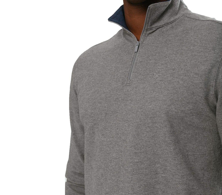 Skipjack 1/4 Zip Pullover - Heather Gunmetal Outerwear Southern Tide