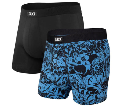 Undercover Cotton Boxer Briefs 2-Pack - Black / Floral Stripe Accessories Saxx Black / Floral Stripe S