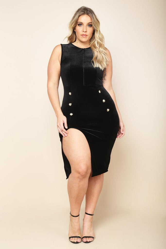 Plus Size Velvet Slit dress.