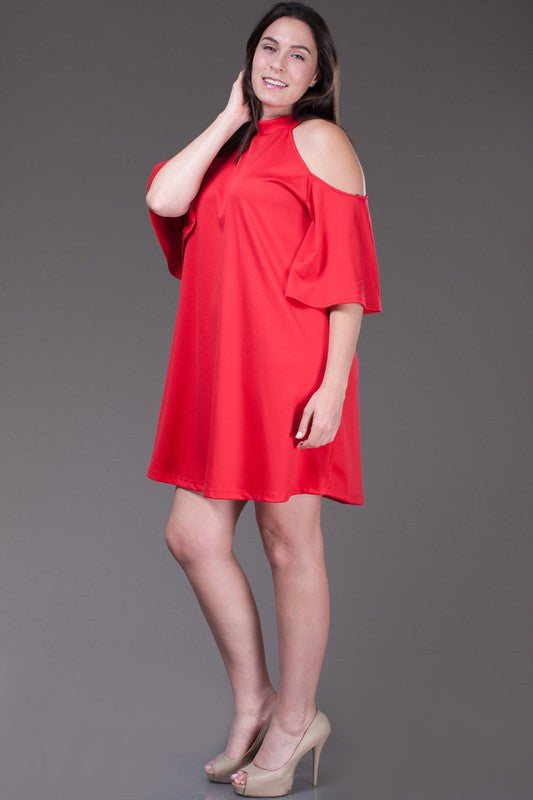 RED EMILY PLUS SIZE DRESS - LAYMAXX
