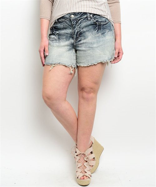 Blue Wash Denim Plus Size Shorts - LAYMAXX