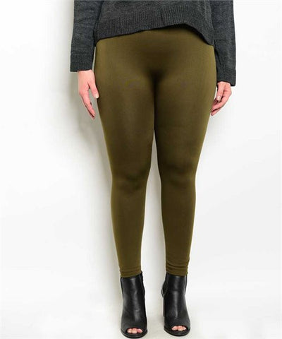 Olive Green Plus Size Leggings