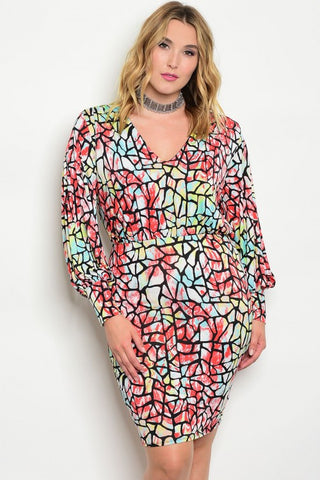 Red Aqua Plus Size Printed Dress