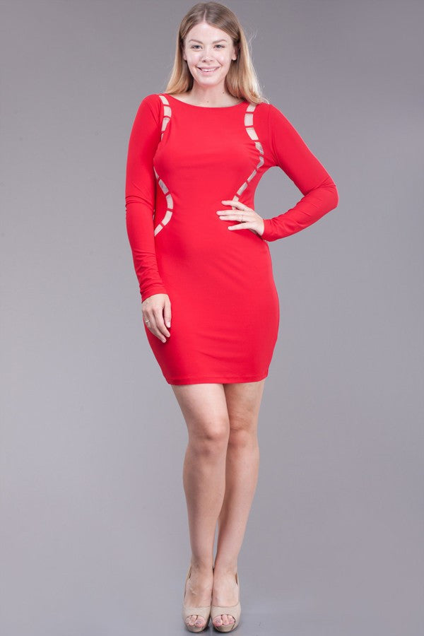Melody Plus Size Red Dress - LAYMAXX