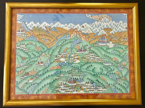 Original Himalayan Tibetan Painting by Sherpa Artist from Namche Bazaar - Painting # 1