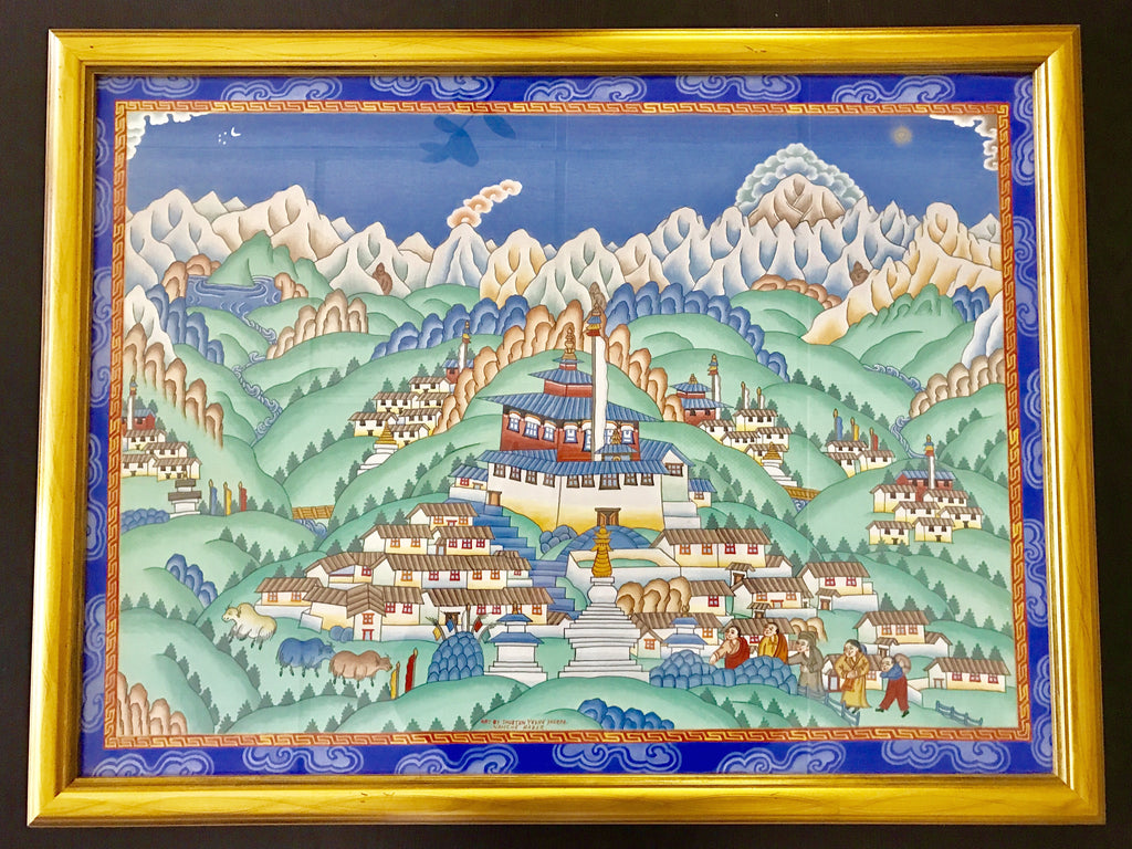 Original Himalayan Tibetan Painting by Sherpa Artist from Namche Bazaar - Painting # 2