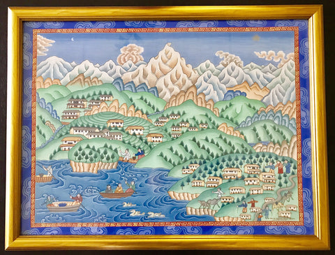 Original Himalayan Tibetan Painting by Sherpa Artist from Namche Bazaar - Painting # 5