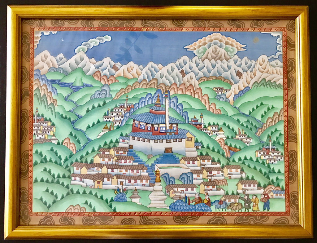 Original Himalayan Tibetan Painting by Sherpa Artist from Namche Bazaar - Painting # 6
