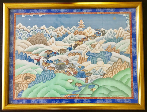 Original Himalayan Tibetan Painting by Sherpa Artist from Namche Bazaar - Painting # 7