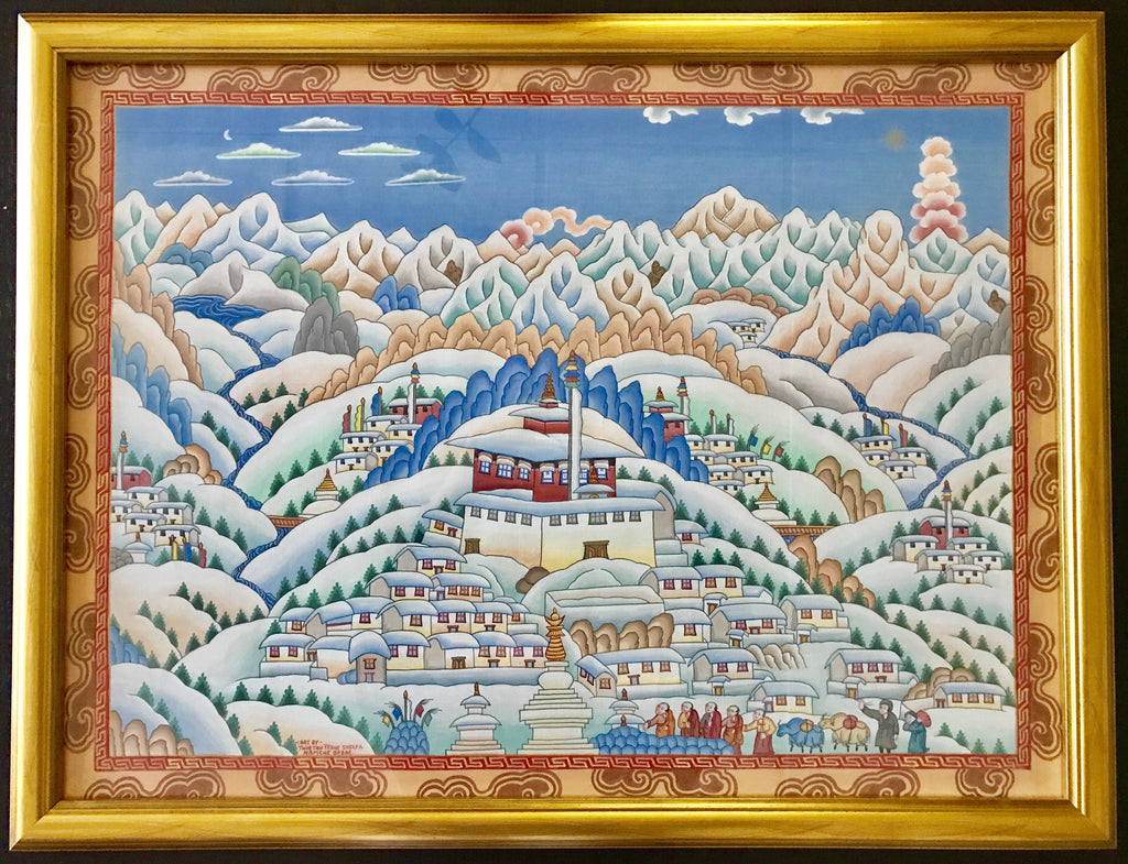 Original Himalayan Tibetan Painting by Sherpa Artist from Namche Bazaar - Painting # 8