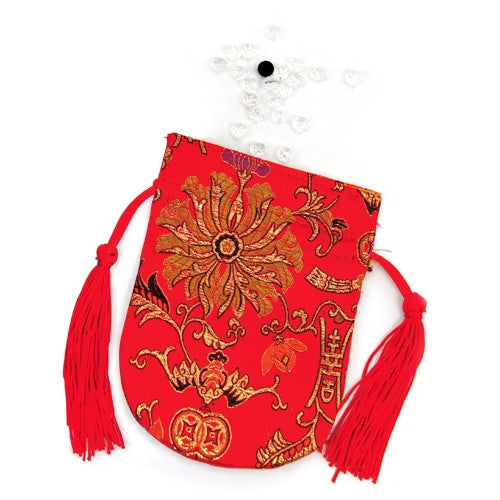 Crystal Beads & Red Brocaded Pouch