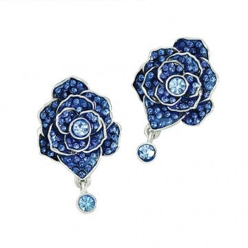 Blue Utpala Flower Earrings - Pair