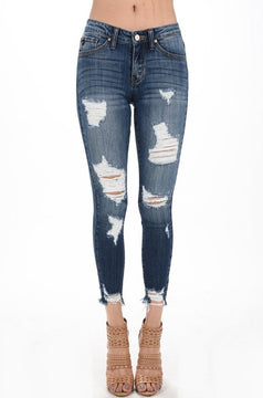 Kylie- Distressed Denim Skinny KanCan Jeans