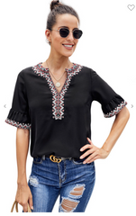 Embroidered Love Top (Black)