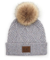 TL-8128 C.C. Exclusive Diagonal Pom Toque (Periwinkle)