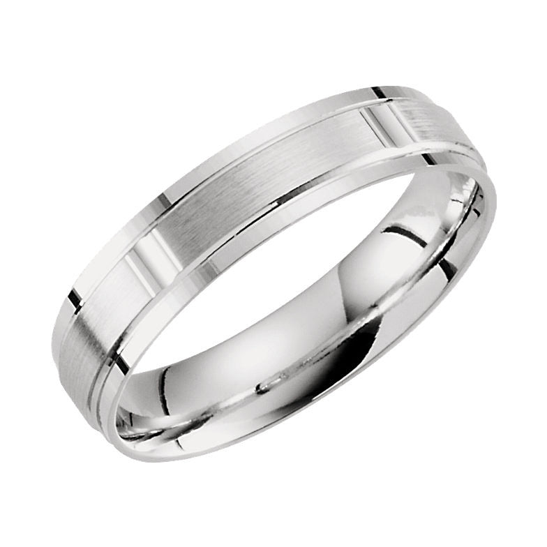 10k White Gold 5mm Lightweight Patterned Wedding Band