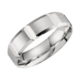 10k White Gold 6mm Lightweight Grooved Beveled Wedding Band