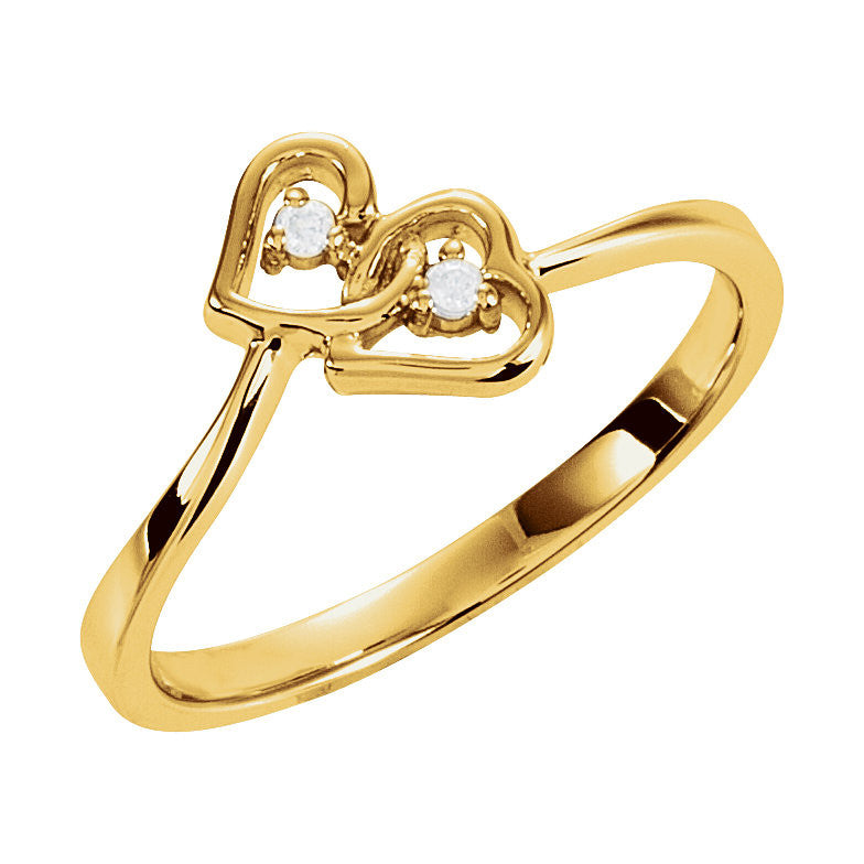 14k Gold 0.02 CT Diamond Double Heart Ring