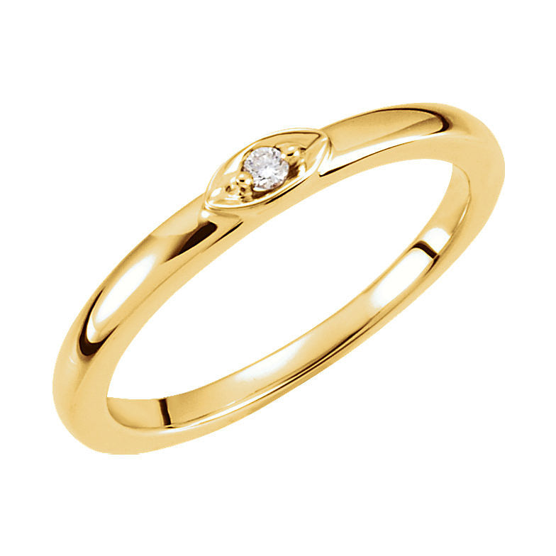 14k Gold 0.025 CT Diamond Stackable Ring