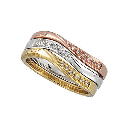 14k Gold 0.03 CT Diamond Stackable Ring