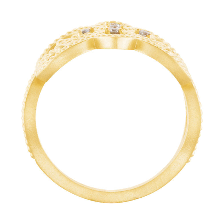 14k Gold 0.11 CT Diamond Granulated Design Ring