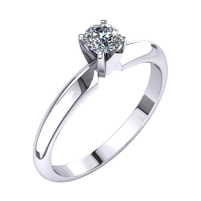 14k Gold 0.25 CT Diamond Round Solitaire Ring