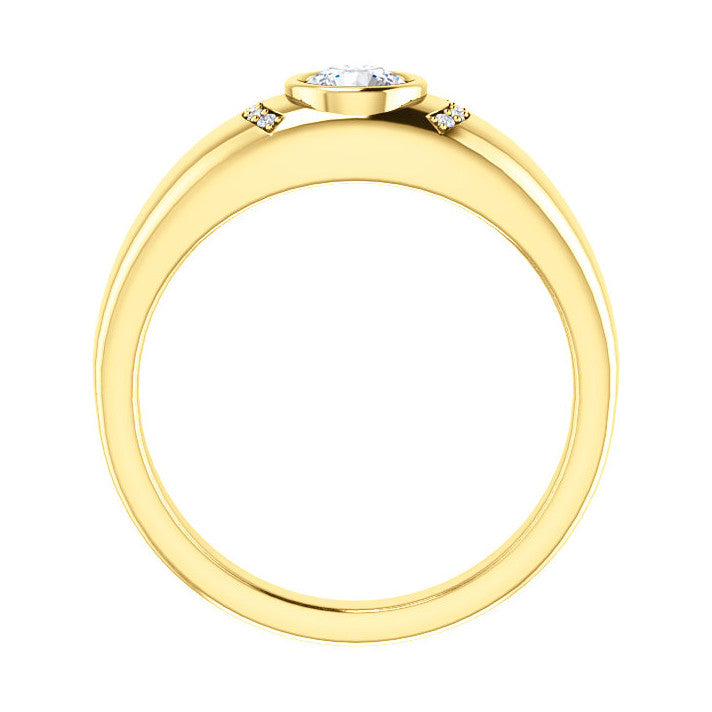 14k Gold 0.50 CT Diamond Men's Bezel Ring