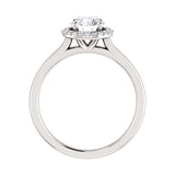 1.11 CT Natural Certified Round Diamond 14k White Gold Halo Engagement Ring