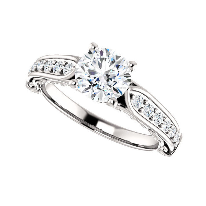 1.20 CT Natural Certified Round Diamond 14k White Gold Accented Engagement Ring