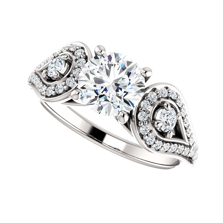 1.32 CT Natural Certified Round Diamond 14k White Gold Engagement Ring