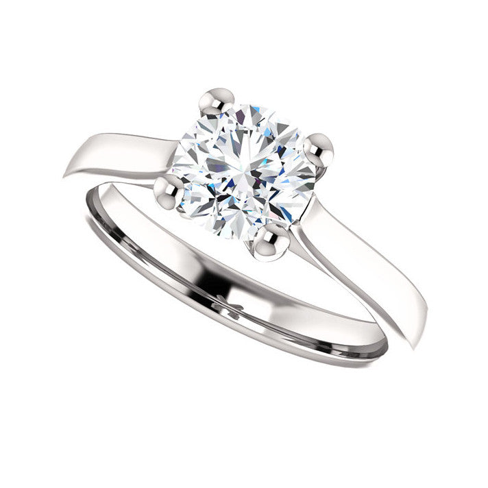 1.00 CT Natural Certified Round Diamond 14k White Gold Engagement Ring