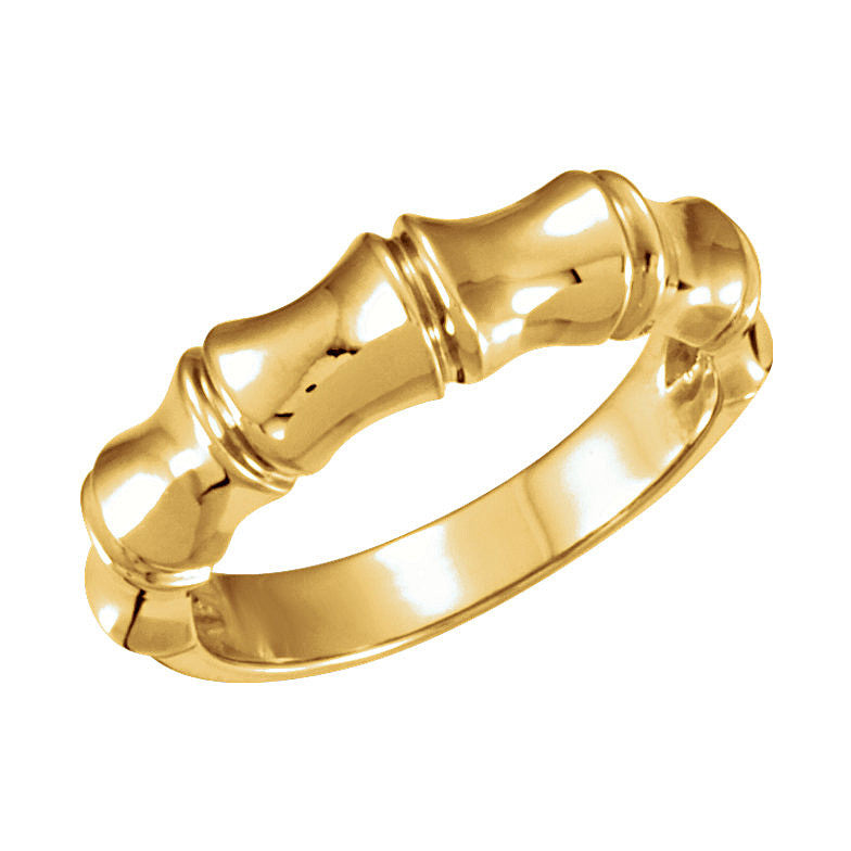14k Gold 5mm Bamboo Design Tapered Band